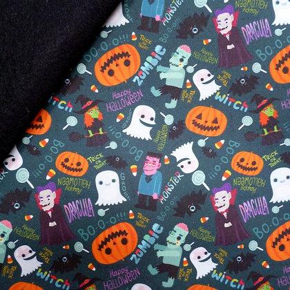 Artisan Fabric Felt :: Halloween Dracula & Frankenstein on Black