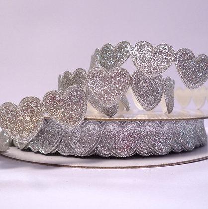 Glitter Heart Trim :: Silver