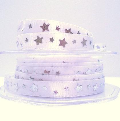 Satin + Metallic Stars :: White + Silver Stars