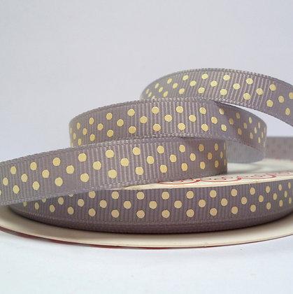 Polka Dot Grosgrain :: Grey & Cream