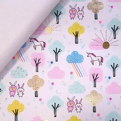 Fabric Felt :: Pastel Metallic Unicorn Forest on White LAST FEW