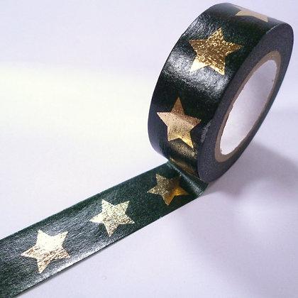 Washi Tape roll :: Gold Star on Black