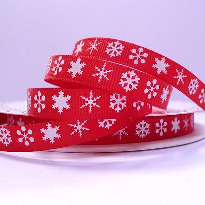 Bertie Bows Ribbon :: Snowflakes on Red Narrow
