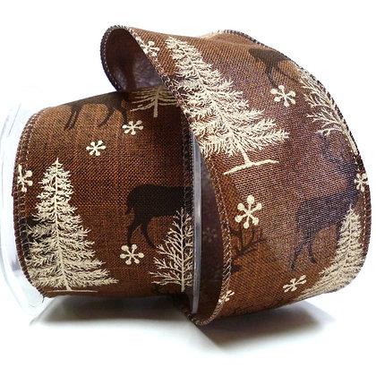 Wired Ribbon :: Reindeer on Brown