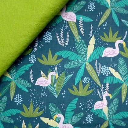 Fabric Felt :: Junglemania :: Flamingo on Leaf