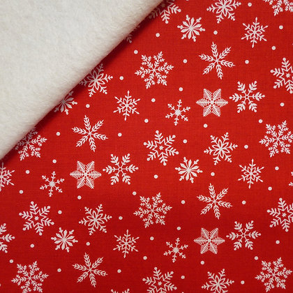 Fabric Felt :: Merry/Bright :: Red Snowflake on Natural