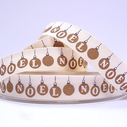 NEW Cotton Christmas Ribbon :: Gold Noel Baubles