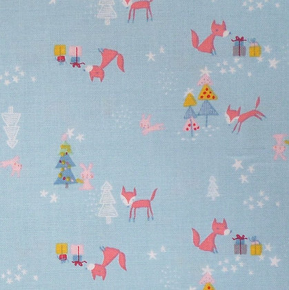 Fabric :: A Winter Tale :: Foxes Blue