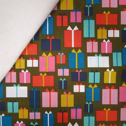 Fabric Felt :: Merry and Bright :: Gift Wrapped on Natural LAST FEW