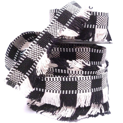 Cotton Tassel Fringe :: Black & White