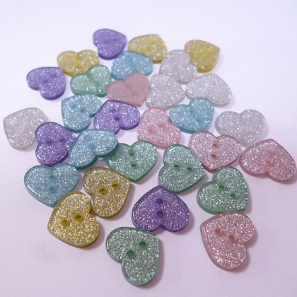 Pack of Glitter Buttons :: Pastel Hearts x30