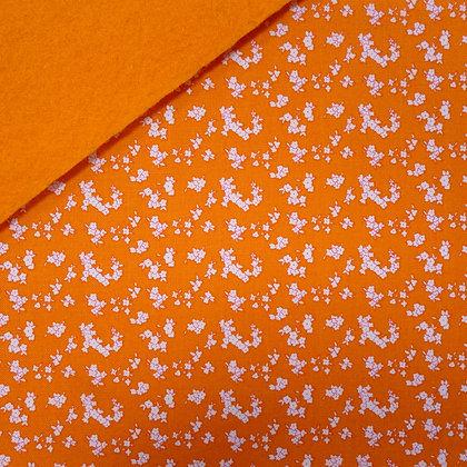 Fabric Felt :: Milk/Sugar/Flowers Tiny Orange Flowers on Orange