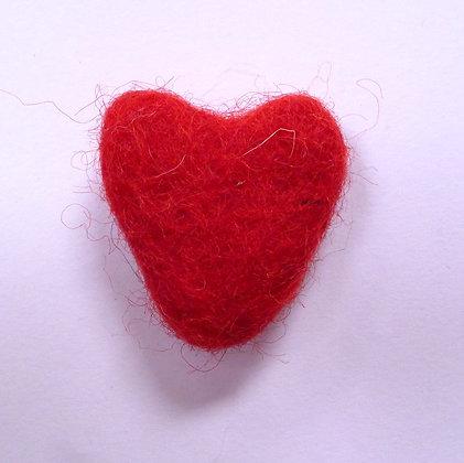 Felt Hearts 100% Wool :: Red