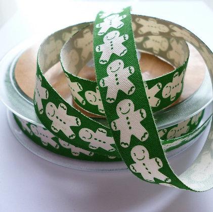 Cotton Christmas Ribbon :: Gingerbread Man Green