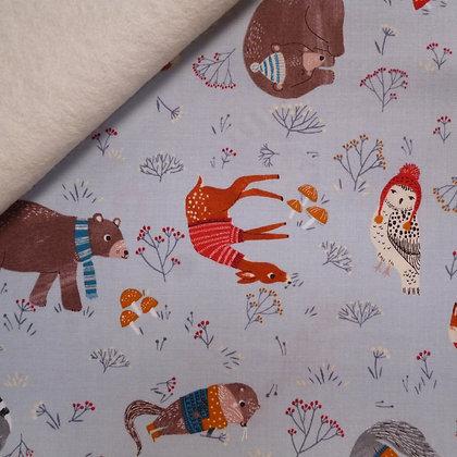 Fabric Felt :: Dreaming of Snow :: Lt Denim Cosy Animals on Natural