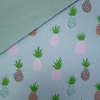 Fabric Felt :: Mint Tropical Pineapples on Pale Mint