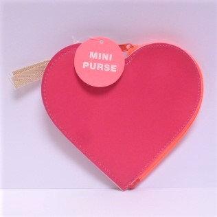 Hot Pink Heart Purse + Neon Zip