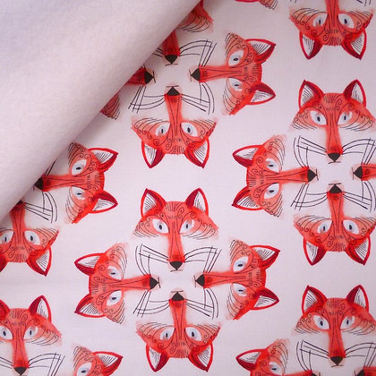 Fabric Felt :: Foxy Faces on White