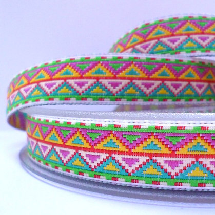 Embroidered Geo Ribbon :: Green