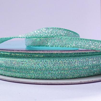 5mm Glitter Velvet Ribbon :: Sea Green