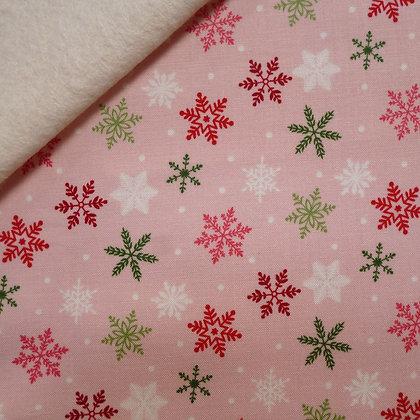 Fabric Felt :: Merry/Bright :: Pink Snowflake on Natural LAST FEW