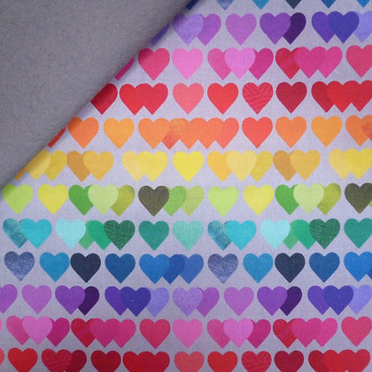 Fabric Felt :: Shine Bright Rainbow :: Grey Rainbow Hearts on Grey