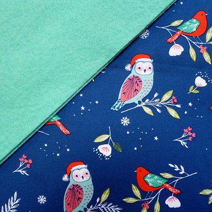 Fabric Felt :: Winter Wonderland Owls on Sea Green