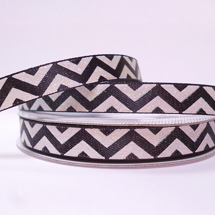 Sparkle Ribbon :: Black & White Chevron
