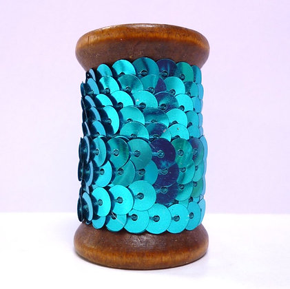 Sequins On A Wooden Spool :: Blue