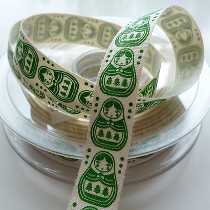 Cotton Christmas Ribbon :: Russian Dolls Green