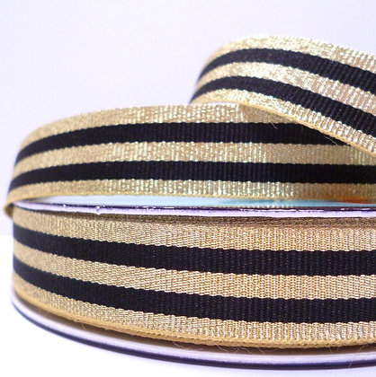 Metallic Grosgrain Stripe Ribbon :: Gold & Black