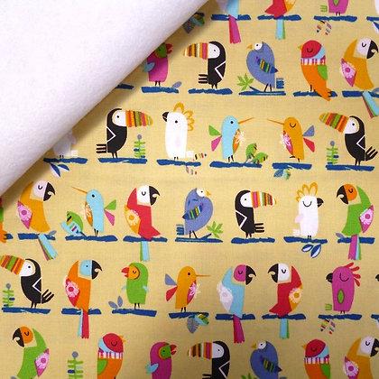Fabric Felt :: Club Tropicana :: Birds In A Row on White LAST FEW