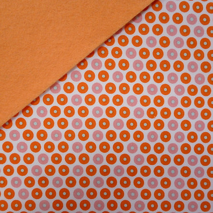 Fabric Felt :: Orange & Pink Circles on Peach