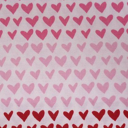 Fabric :: Hello Sweetheart :: Pink Rainbow Hearts on Cream