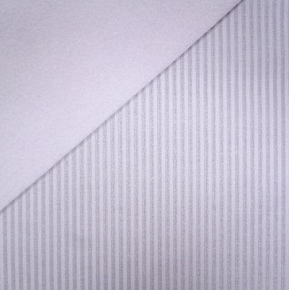 Fabric Felt :: Metallic Silver Stripe on White