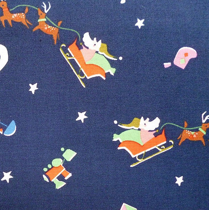 Fabric :: Way Up North :: Santa's Sleigh :: Navy