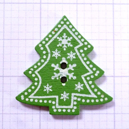Wooden Button :: Snowflake Christmas Tree