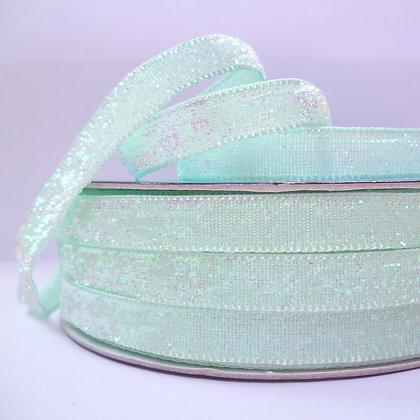10mm Glitter Velvet Ribbon :: Pastel Mint