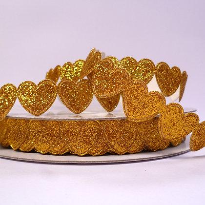 Glitter Heart Trim :: Gold