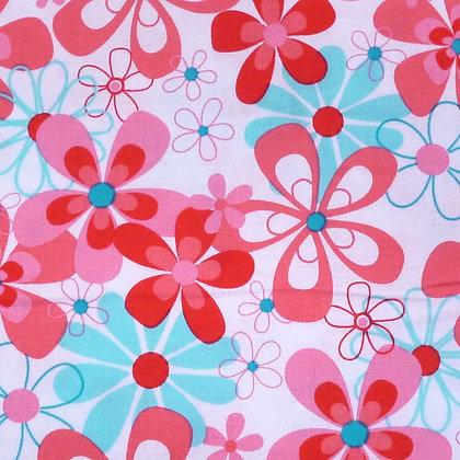 Fabric :: Floral :: Aqua & Pink