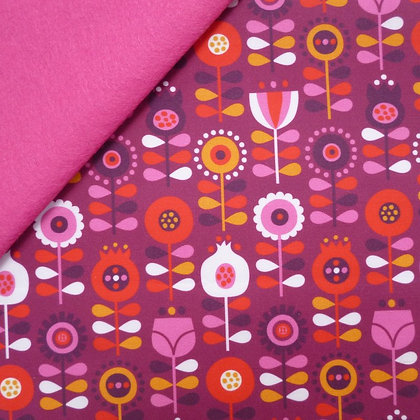 Artisan Fabric Felt :: Scandinavian Flowers on Candy Pink