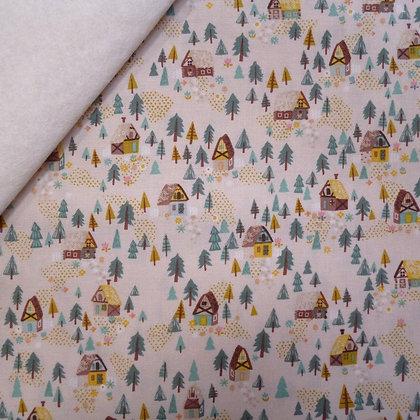 Fabric Felt :: Goldilocks :: Cream Forest Houses on Natural