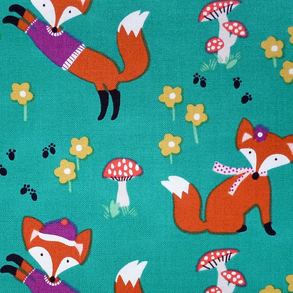 Fabric :: Foxwood :: Teal Foxes