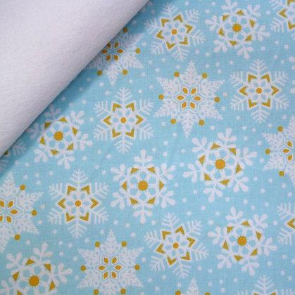 Fabric Felt :: Snowflake Waltz :: Turquoise on White