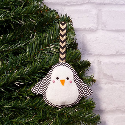 Chevron Penguin :: Traditional Christmas :: made to order