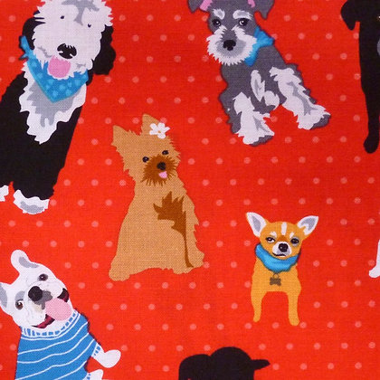 Fabric :: Must Love Dogs :: Red Polka Dots