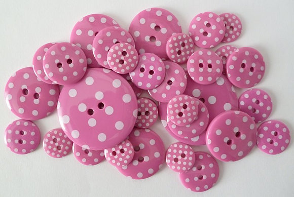 Polka Dot Buttons :: Bright Pink