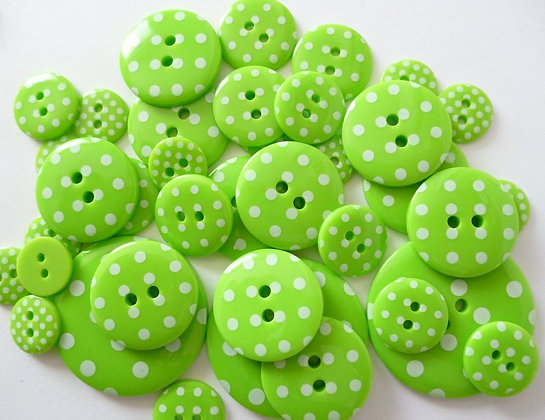 Polka Dot Buttons :: Bright Green
