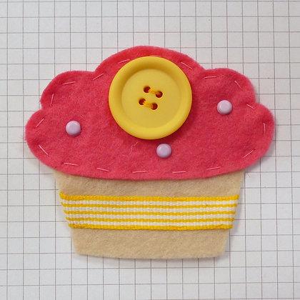 Bright Pink :: Fat Cupcake :: Handmade Embellishment