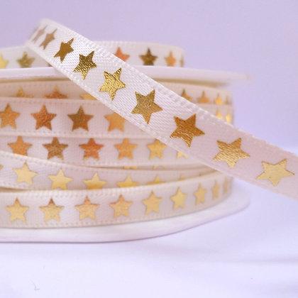 "1/4"" star ribbon :: cream & gold"